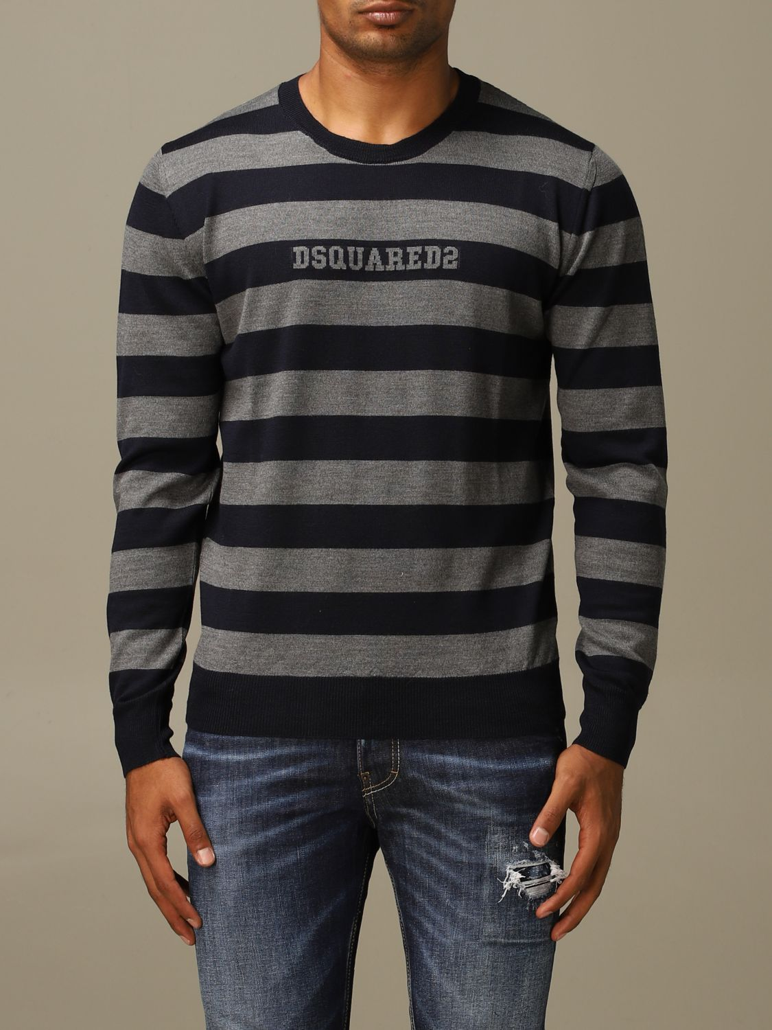 Sweater Dsquared2: Dsquared2 wool sweater with logoed bands grey 1