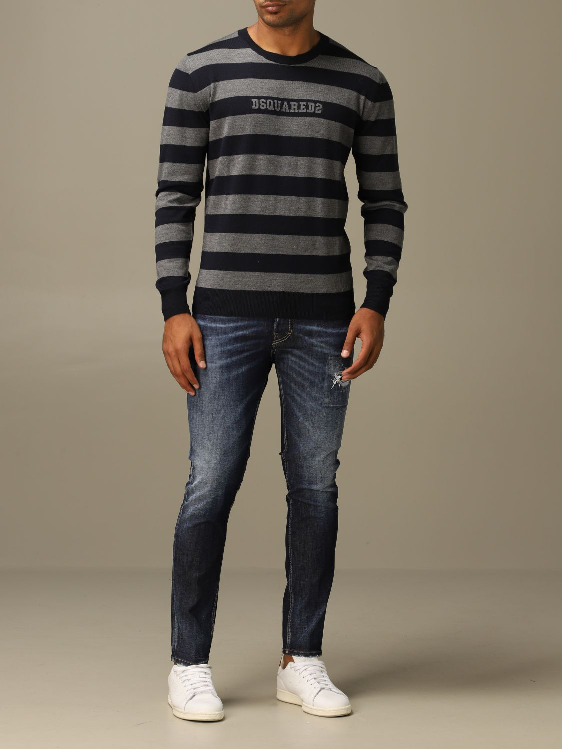 Sweater Dsquared2: Dsquared2 wool sweater with logoed bands grey 2