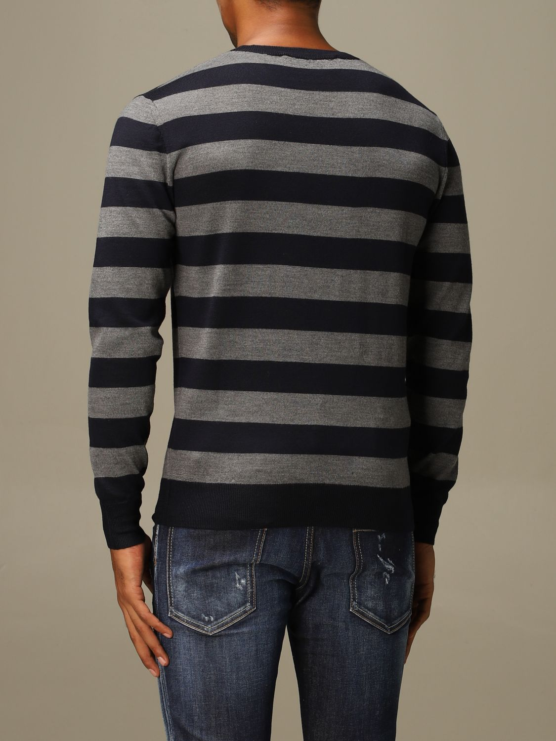 Sweater Dsquared2: Dsquared2 wool sweater with logoed bands grey 3