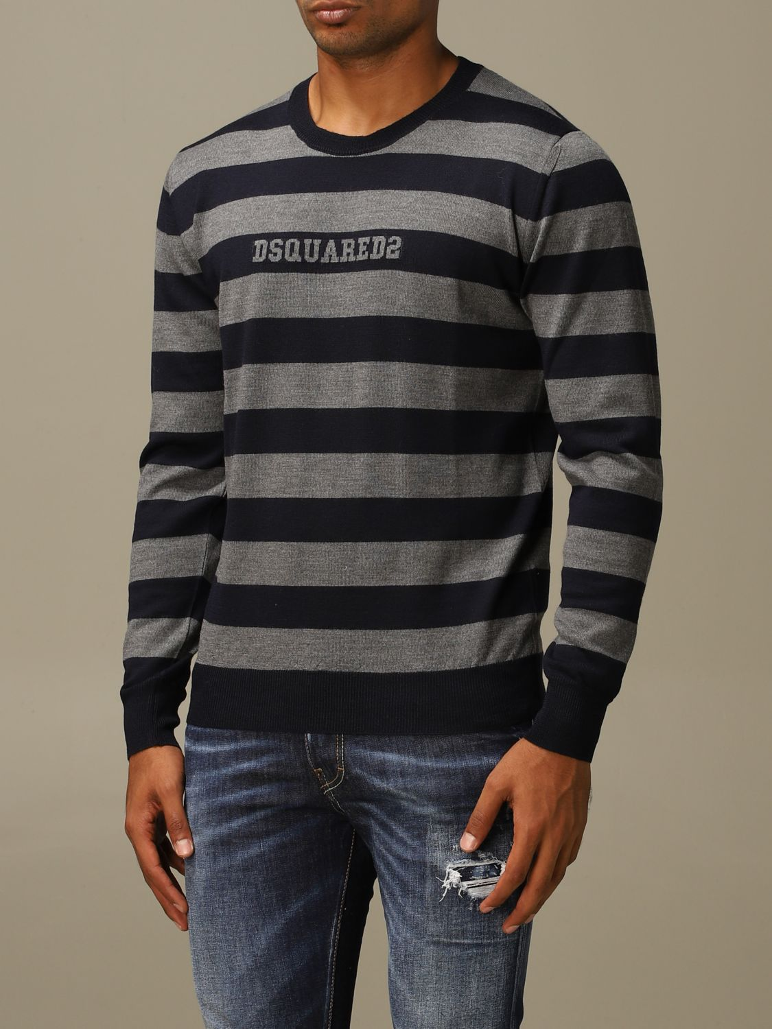 Sweater Dsquared2: Dsquared2 wool sweater with logoed bands grey 4