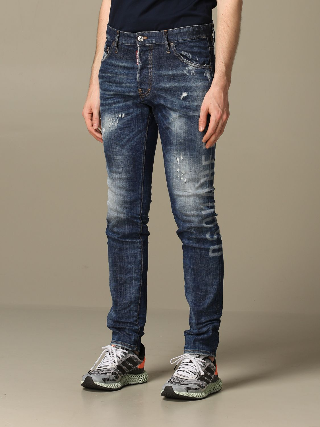 Jeans Dsquared2: Cool guy Dsquared2 regular fit jeans with Canadian logo blue 4