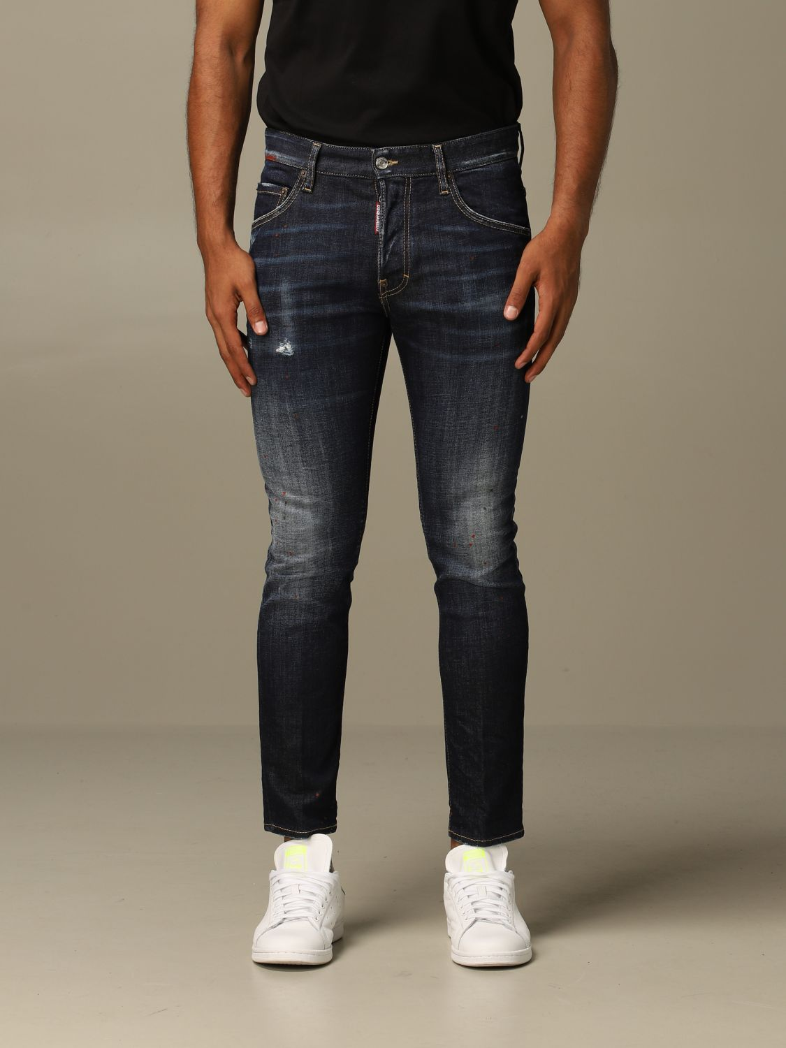 Jeans Dsquared2: Dsquared2 slim fit Skater jeans with patches blue 1
