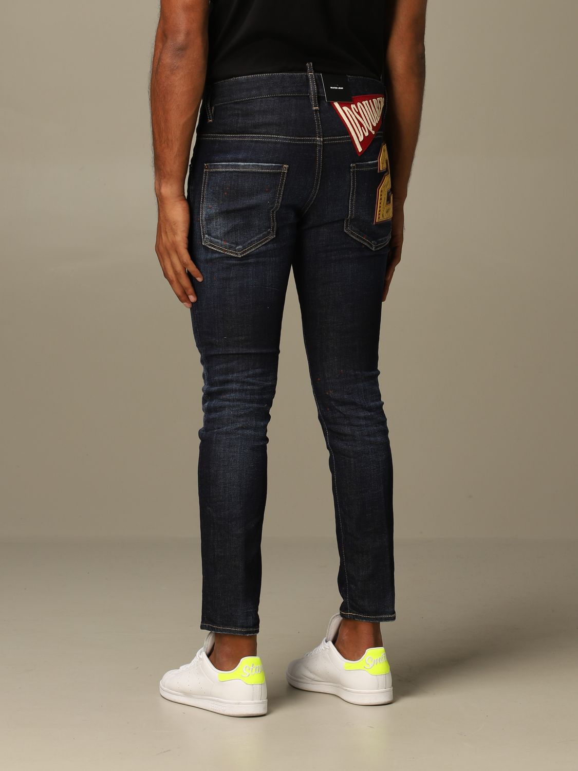 Jeans Dsquared2: Dsquared2 slim fit Skater jeans with patches blue 2