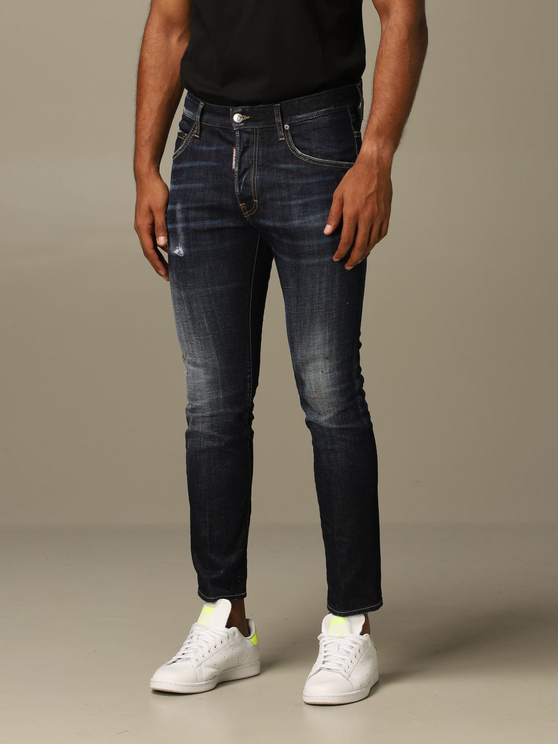 Jeans Dsquared2: Dsquared2 slim fit Skater jeans with patches blue 3