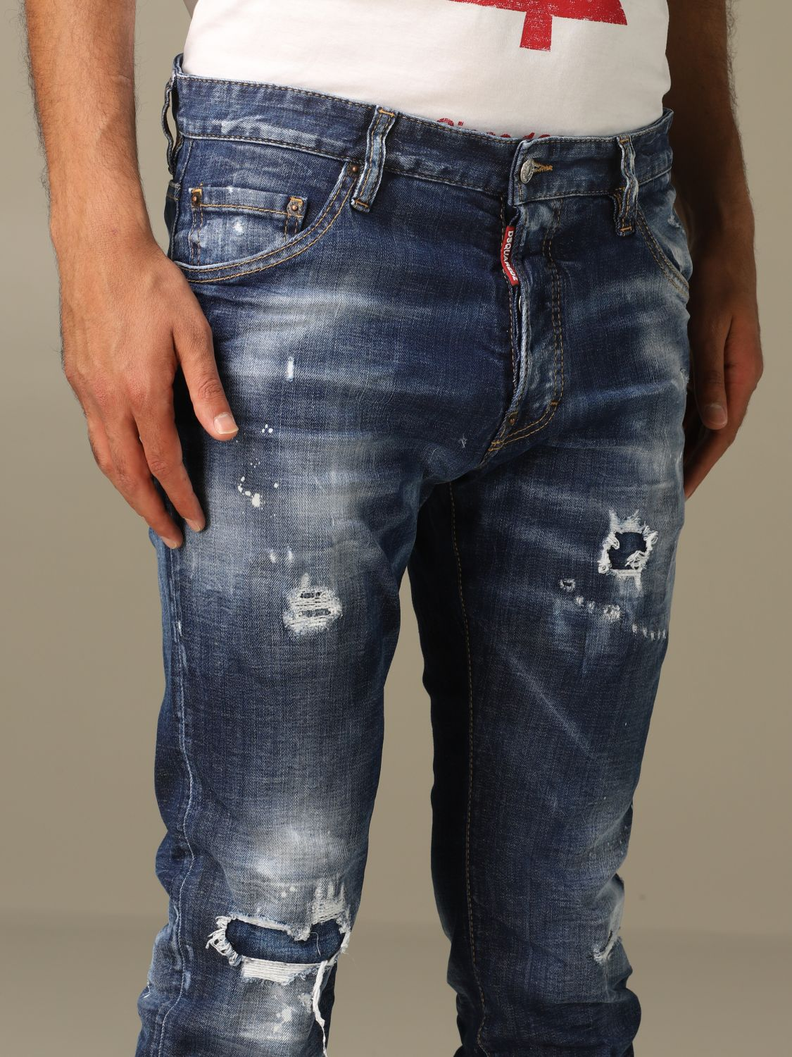 Jeans Dsquared2: Cool guy Dsquared2 regular fit jeans with breaks blue 5