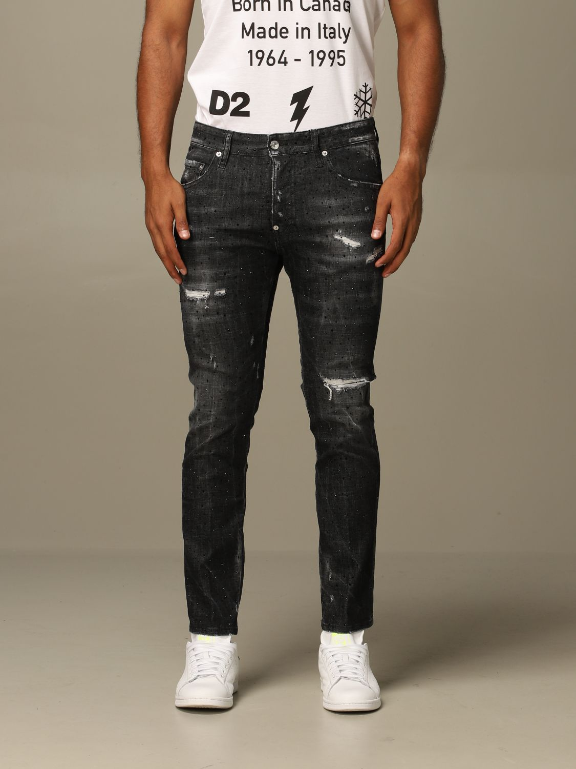 Jeans Dsquared2: Dsquared2 slim fit Skater jeans with all over crystals black 1