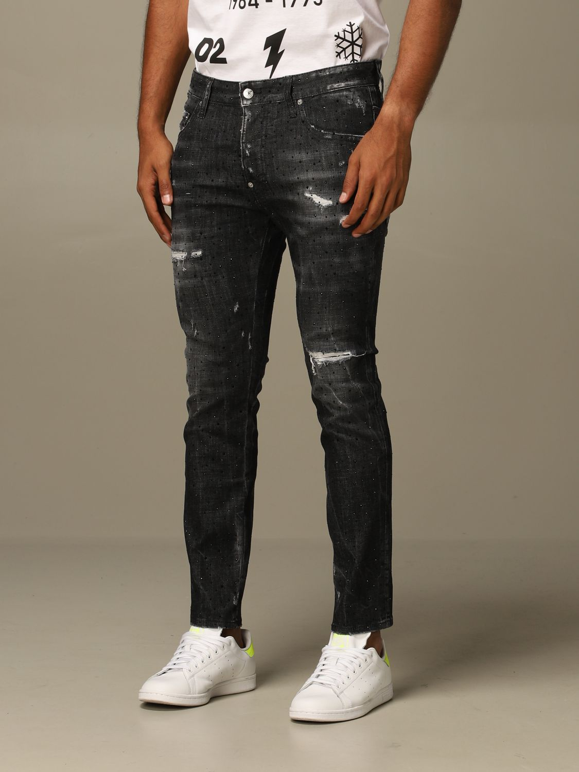Jeans Dsquared2: Dsquared2 slim fit Skater jeans with all over crystals black 3
