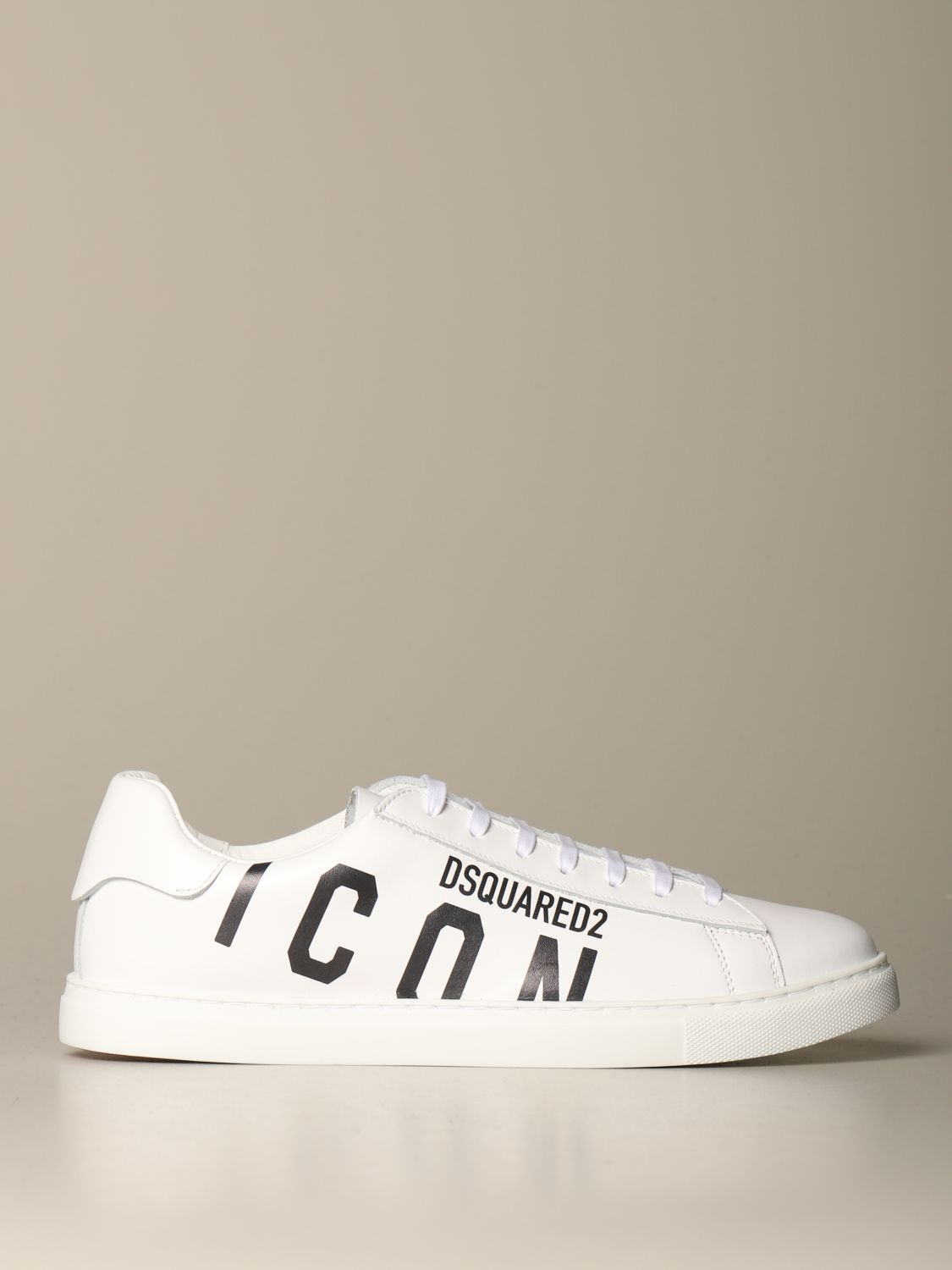 Sneakers Dsquared2: Dsquared2 leather sneakers with Icon print white 1