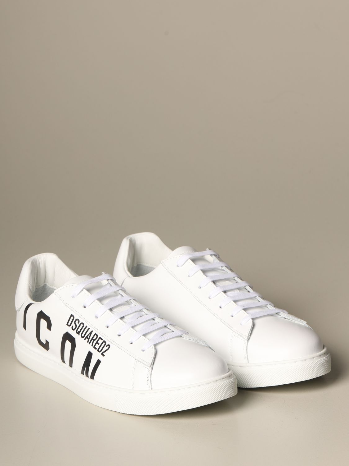 Sneakers Dsquared2: Dsquared2 leather sneakers with Icon print white 2