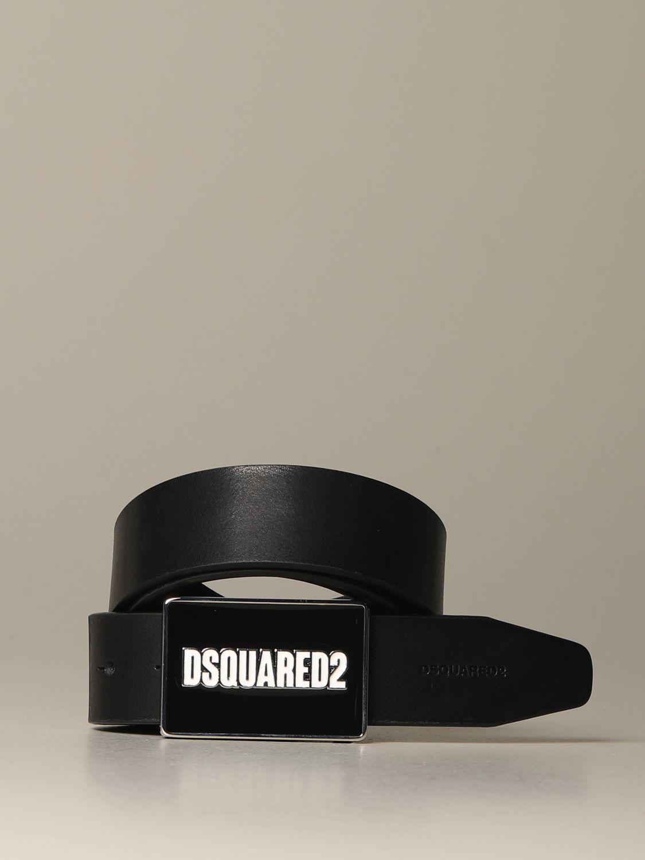 Belt Dsquared2: Dsquared2 leather belt with logoed buckle black 1