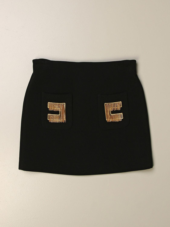 Gonna Elisabetta Franchi: Gonna Elisabetta Franchi con logo di frange nero 1