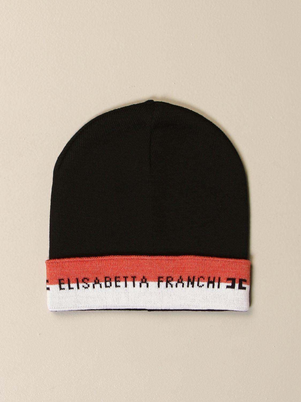 Cappello bimba Elisabetta Franchi: Cappello Elisabetta Franchi con risvolto a righe e logo nero 1