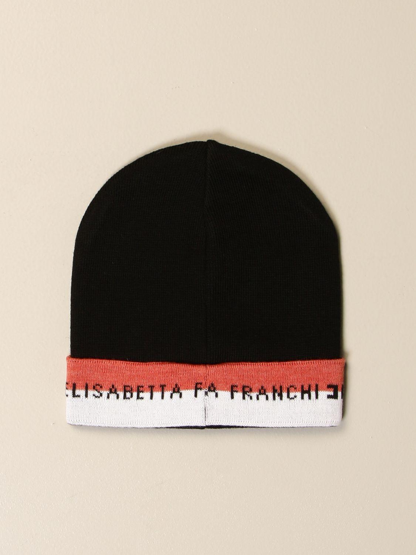 Cappello bimba Elisabetta Franchi: Cappello Elisabetta Franchi con risvolto a righe e logo nero 2
