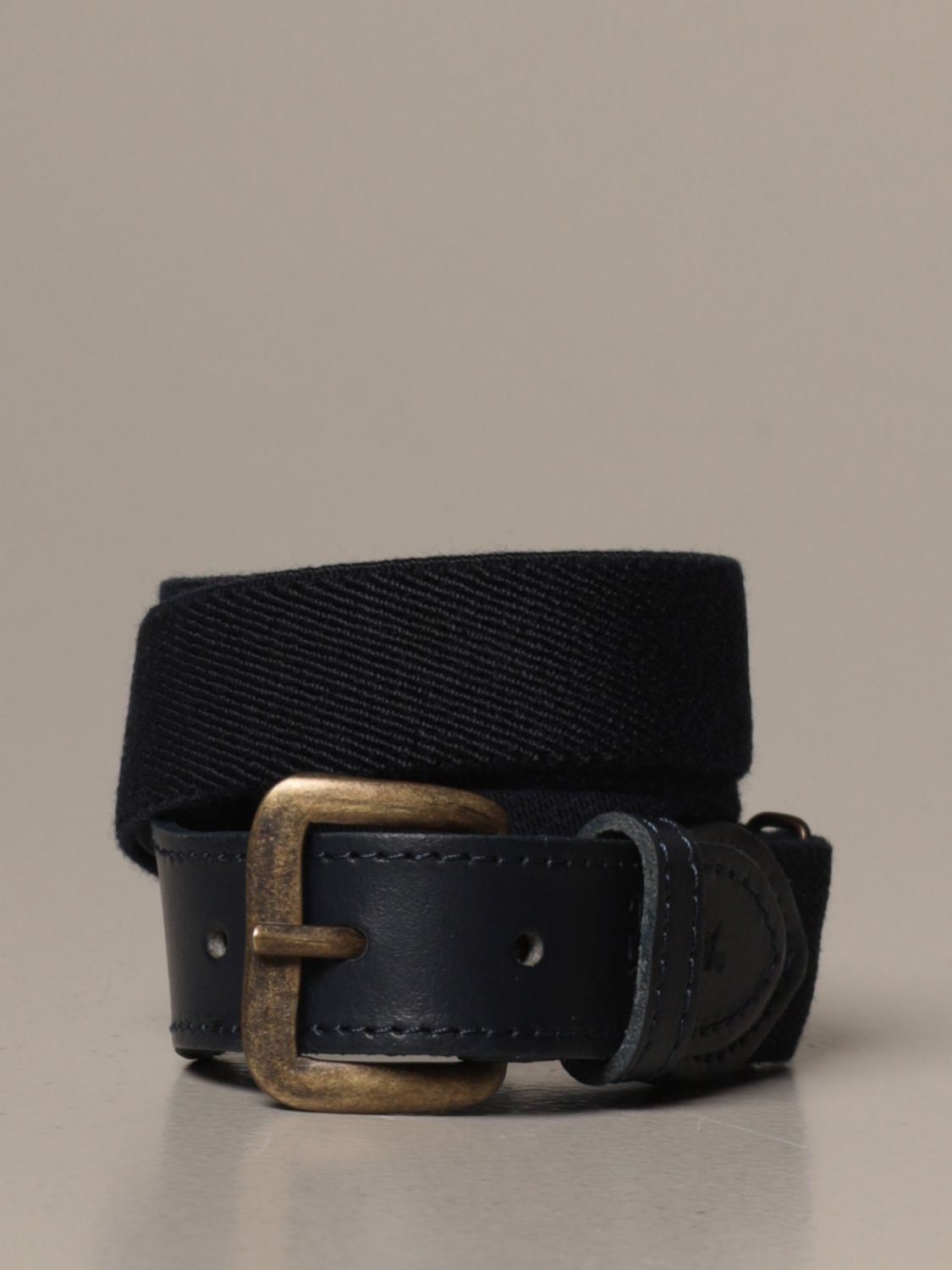 Belt Il Gufo: Il Gufo leather belt with elasticated ribbon blue 1
