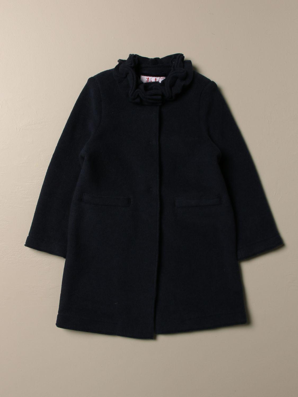 Cappotto Il Gufo: Cappotto Il Gufo in pile con rouches blue 1