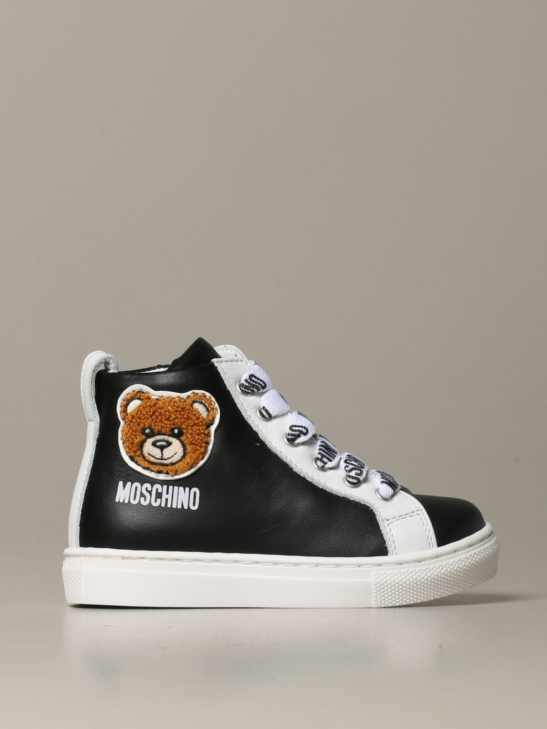Scarpe Moschino Baby: Sneakers Moschino baby in pelle con Teddy nero 1