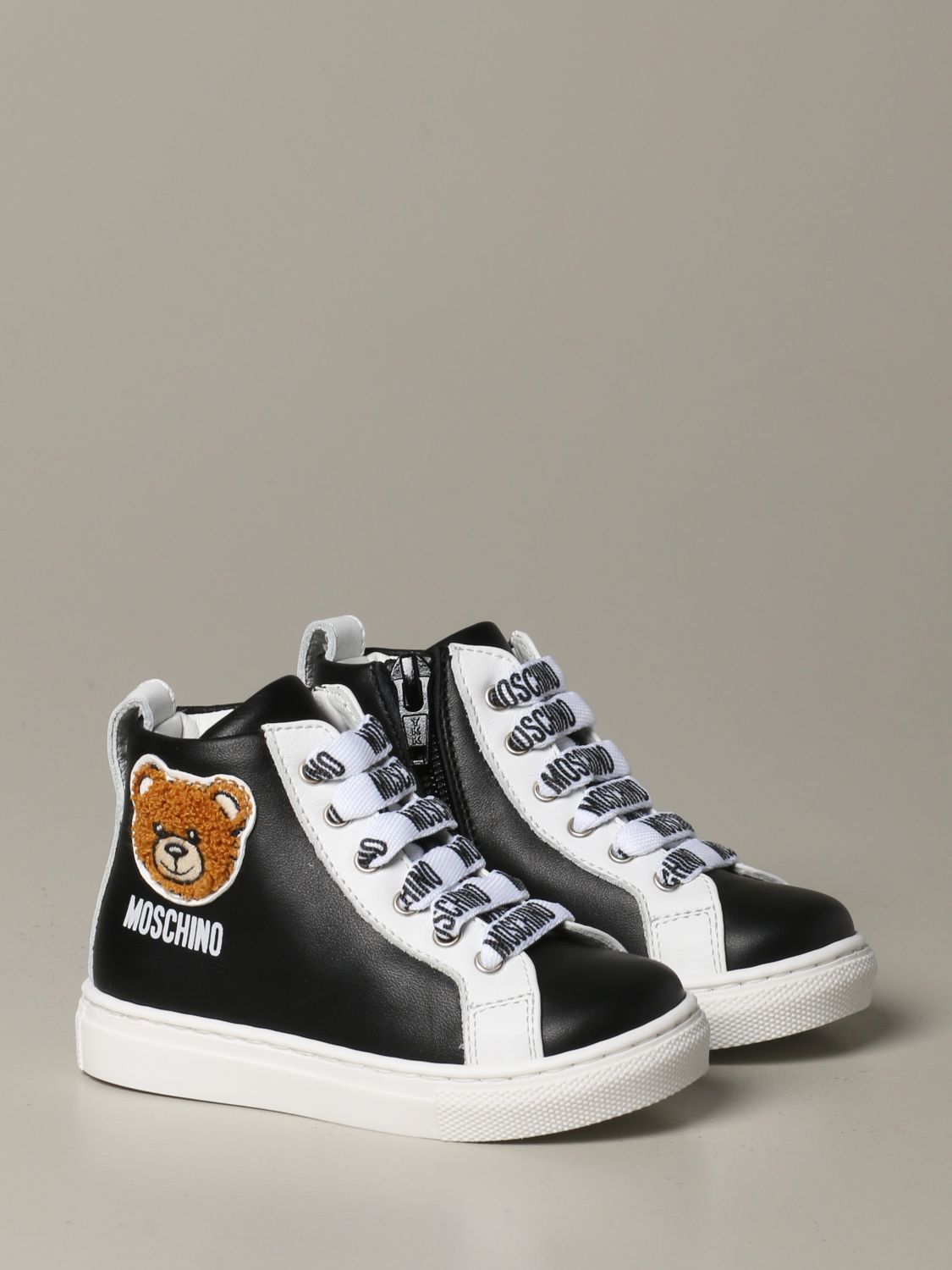 Scarpe Moschino Baby: Sneakers Moschino baby in pelle con Teddy nero 2