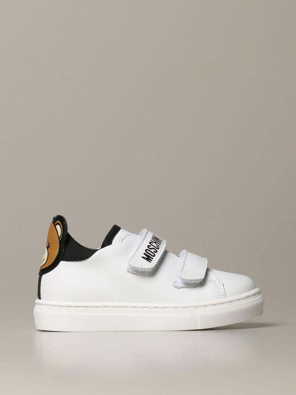 Scarpe Moschino Baby: Sneakers Moschino baby in pelle con tallone Teddy bianco 1