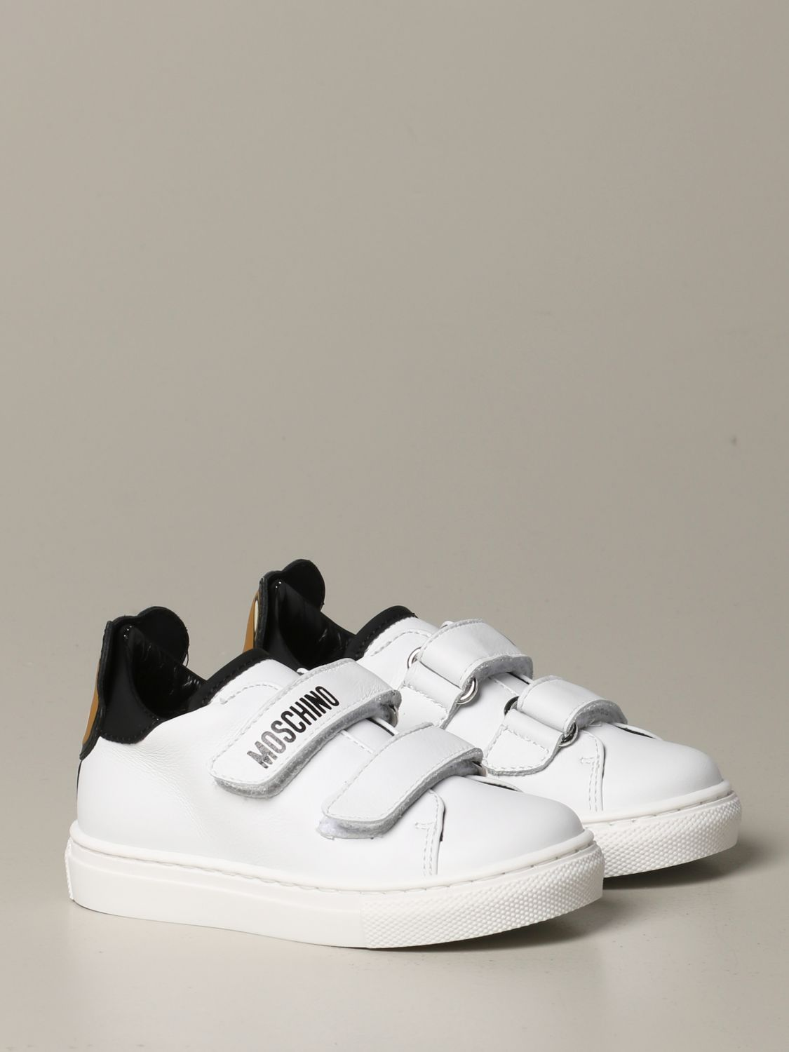 Scarpe Moschino Baby: Sneakers Moschino baby in pelle con tallone Teddy bianco 2
