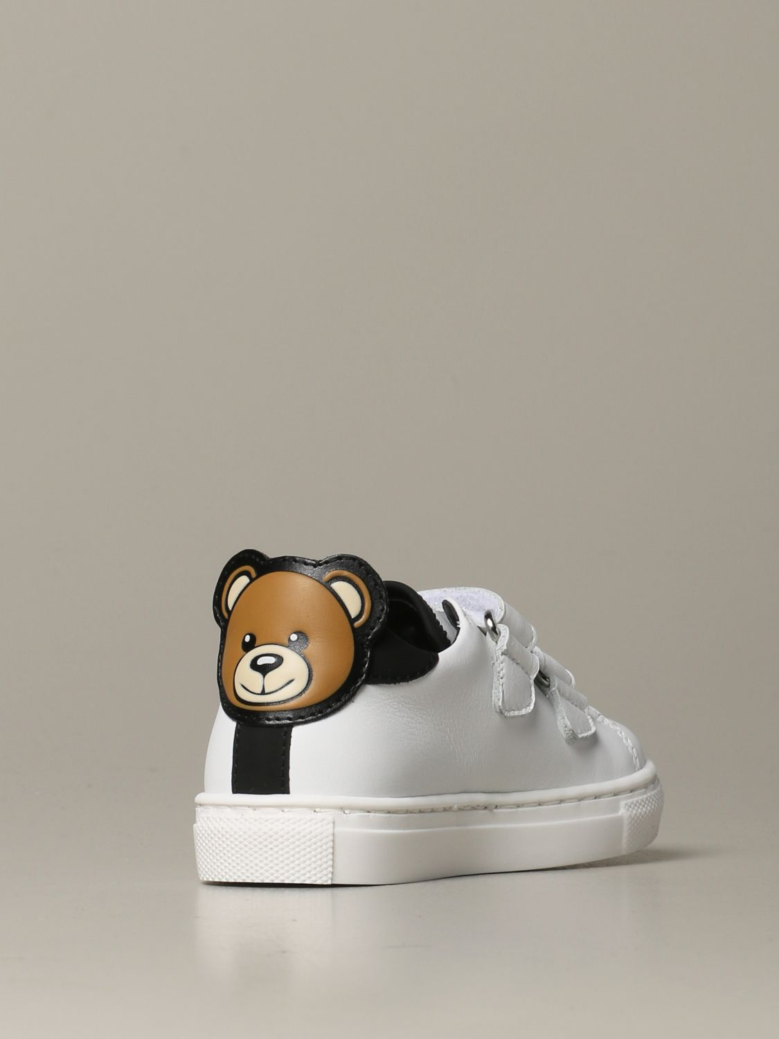 Scarpe Moschino Baby: Sneakers Moschino baby in pelle con tallone Teddy bianco 3