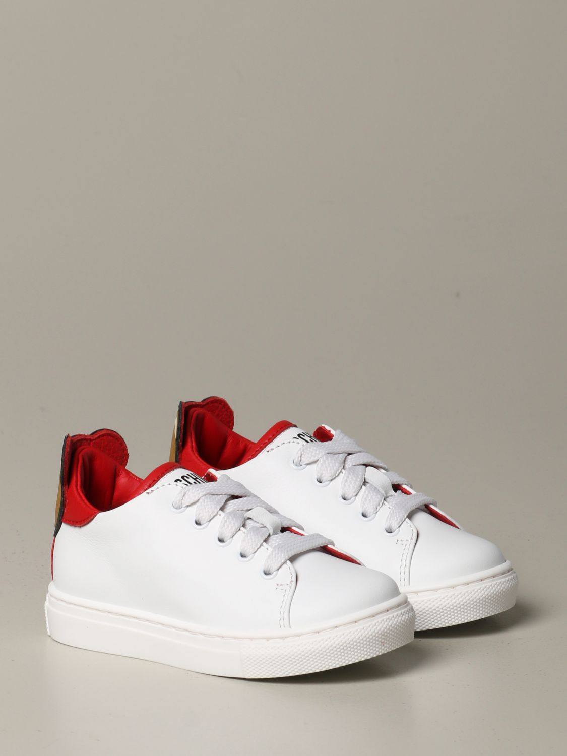 Shoes Moschino Baby: Moschino baby sneakers in leather with Teddy heel white 2