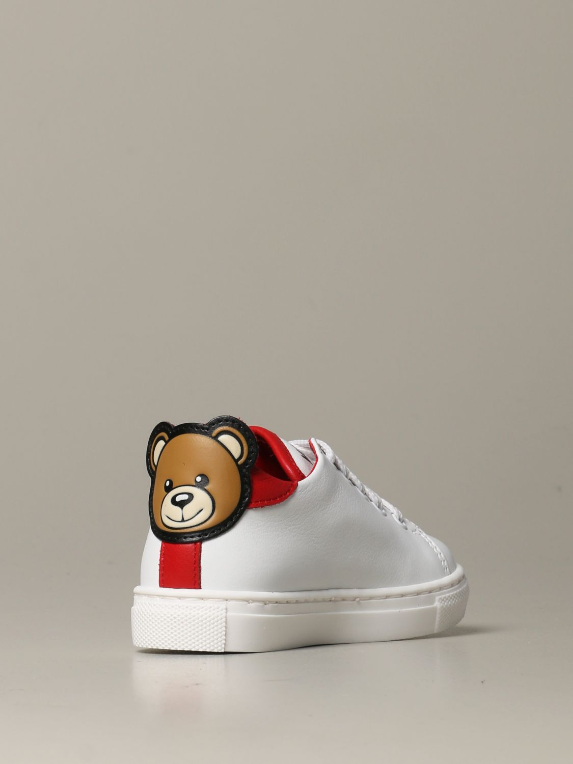Shoes Moschino Baby: Moschino baby sneakers in leather with Teddy heel white 3