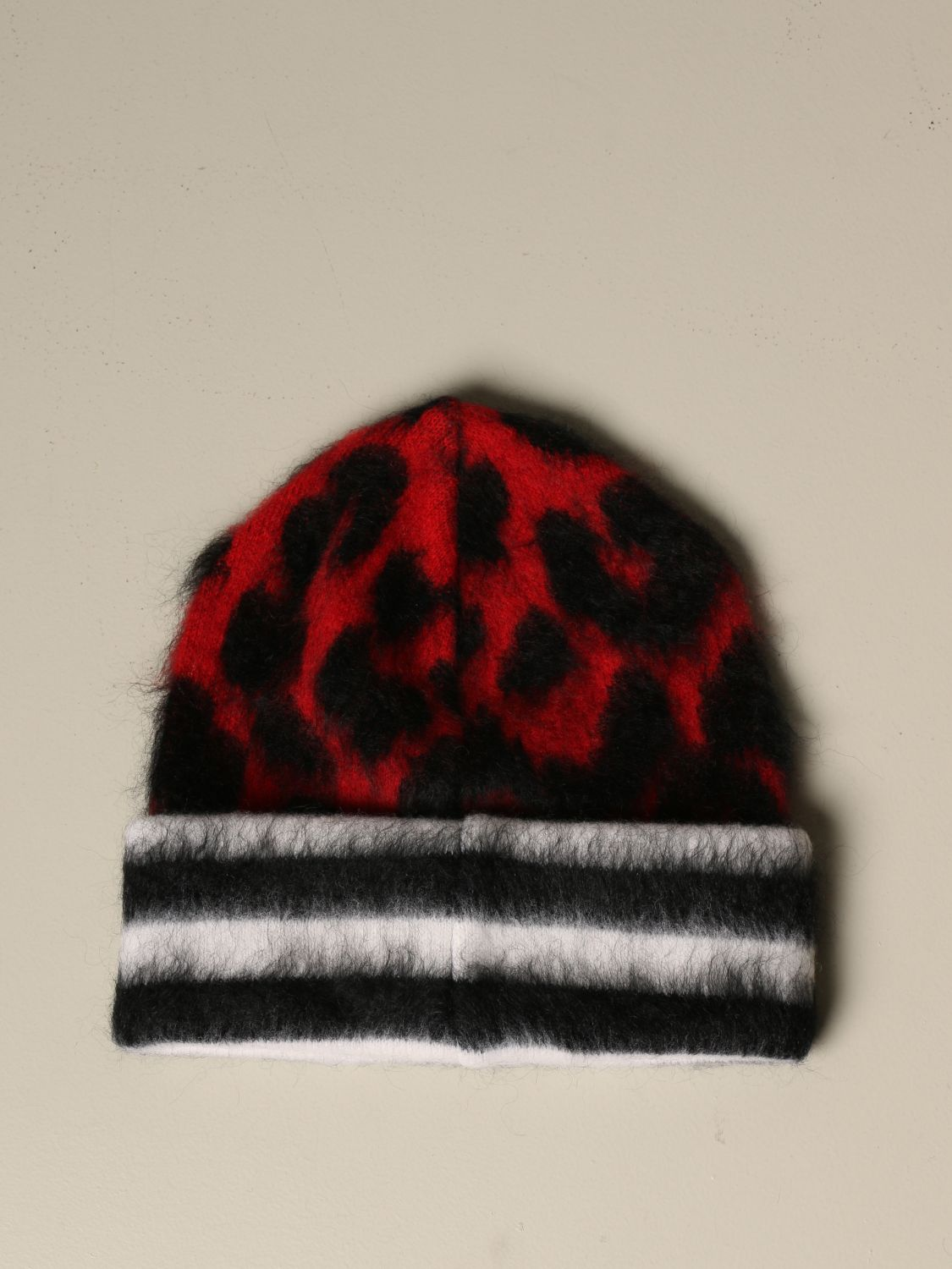 Hat N° 21: N ° 21 hat in animalier wool and Mohair red 2