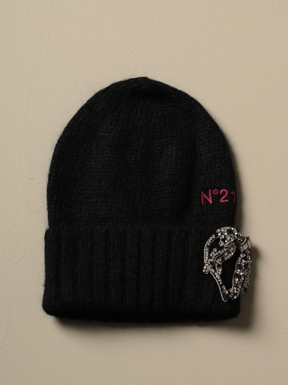 Cappello N° 21: Cappello N°21 in lana con spilla gioiello nero 1