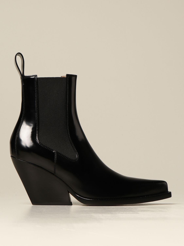Flat booties Bottega Veneta: The Lean Bottega Veneta ankle boot in brushed leather black 1