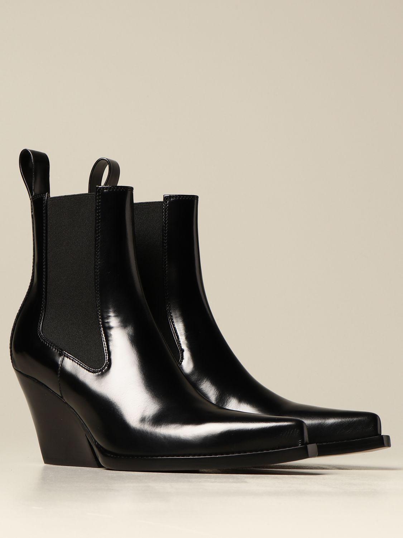 Flat booties Bottega Veneta: The Lean Bottega Veneta ankle boot in brushed leather black 2