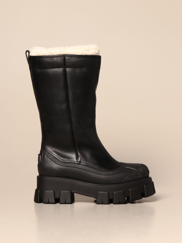 Stivali Prada: Stivale Monolith Prada in pelle con interni in pelliccia nero 1