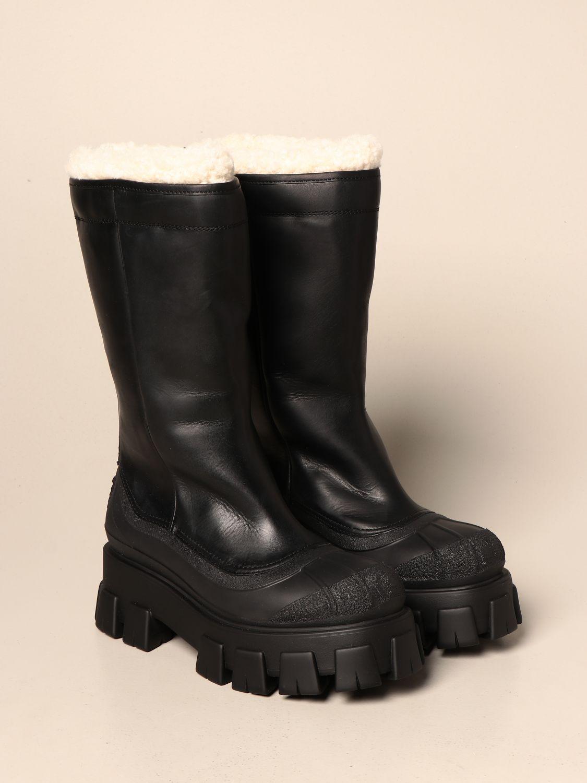 Stivali Prada: Stivale Monolith Prada in pelle con interni in pelliccia nero 2
