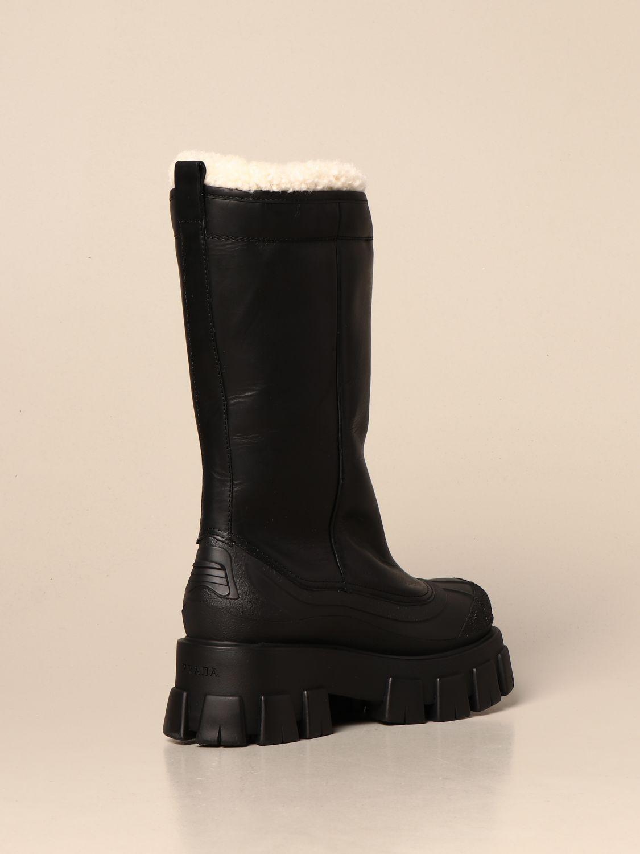 Stivali Prada: Stivale Monolith Prada in pelle con interni in pelliccia nero 3