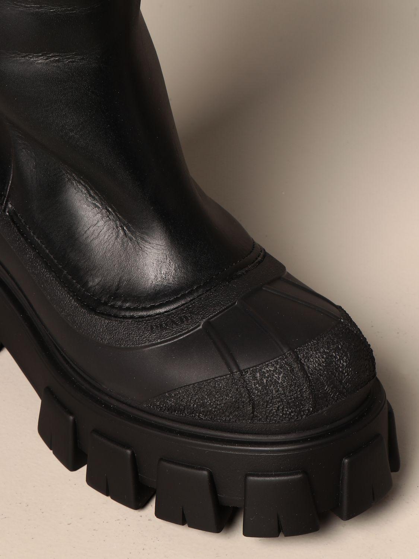 Stivali Prada: Stivale Monolith Prada in pelle con interni in pelliccia nero 4