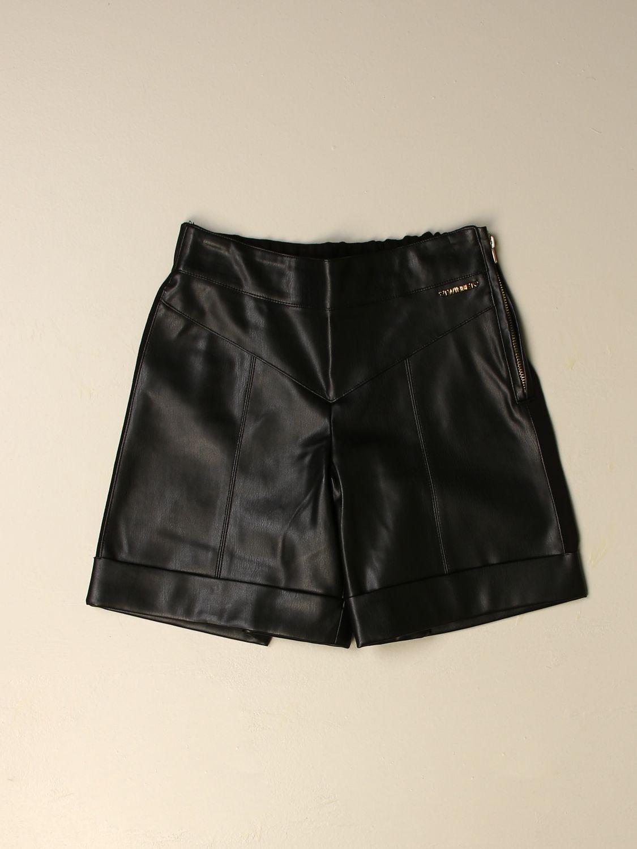 Pantaloncino Twin Set: Ecopelle bimateriale punto milano nero 1