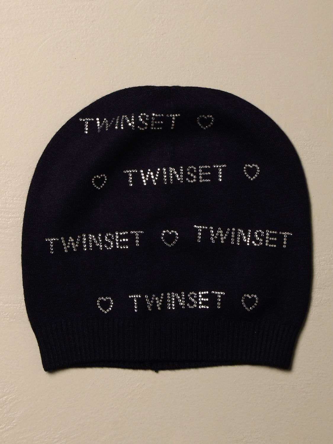 Hat girl Twin Set: Twin-set hat in viscose blend with rhinestone logo blue 1