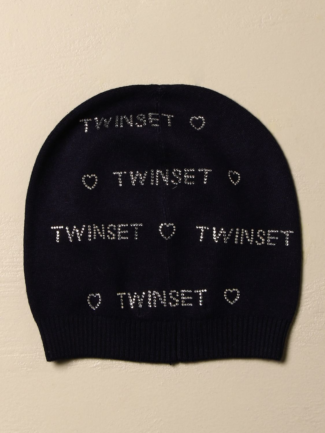 Hat girl Twin Set: Twin-set hat in viscose blend with rhinestone logo blue 2
