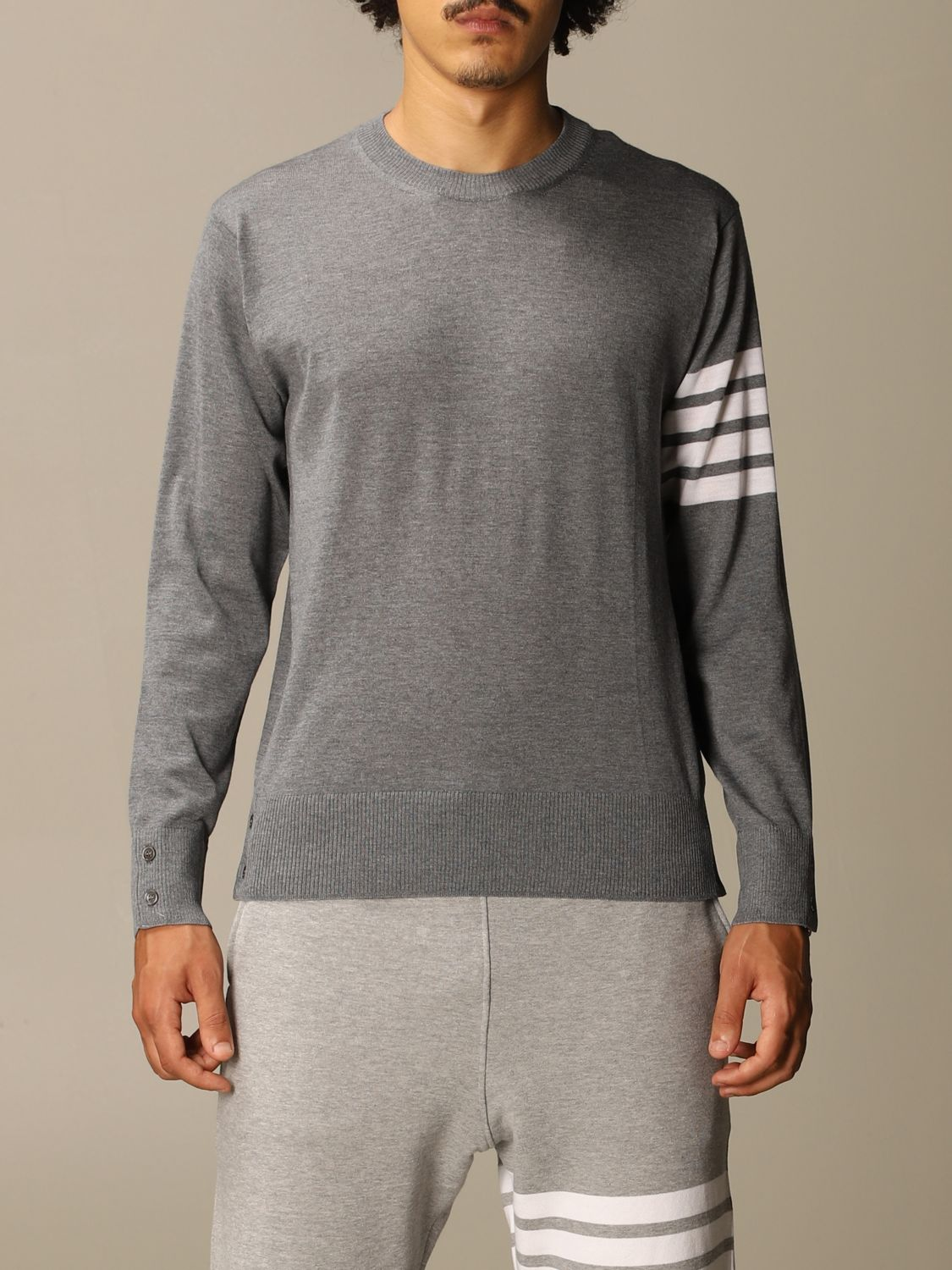 Sweater Thom Browne: Thom Browne pullover in merino wool with bands charcoal 1