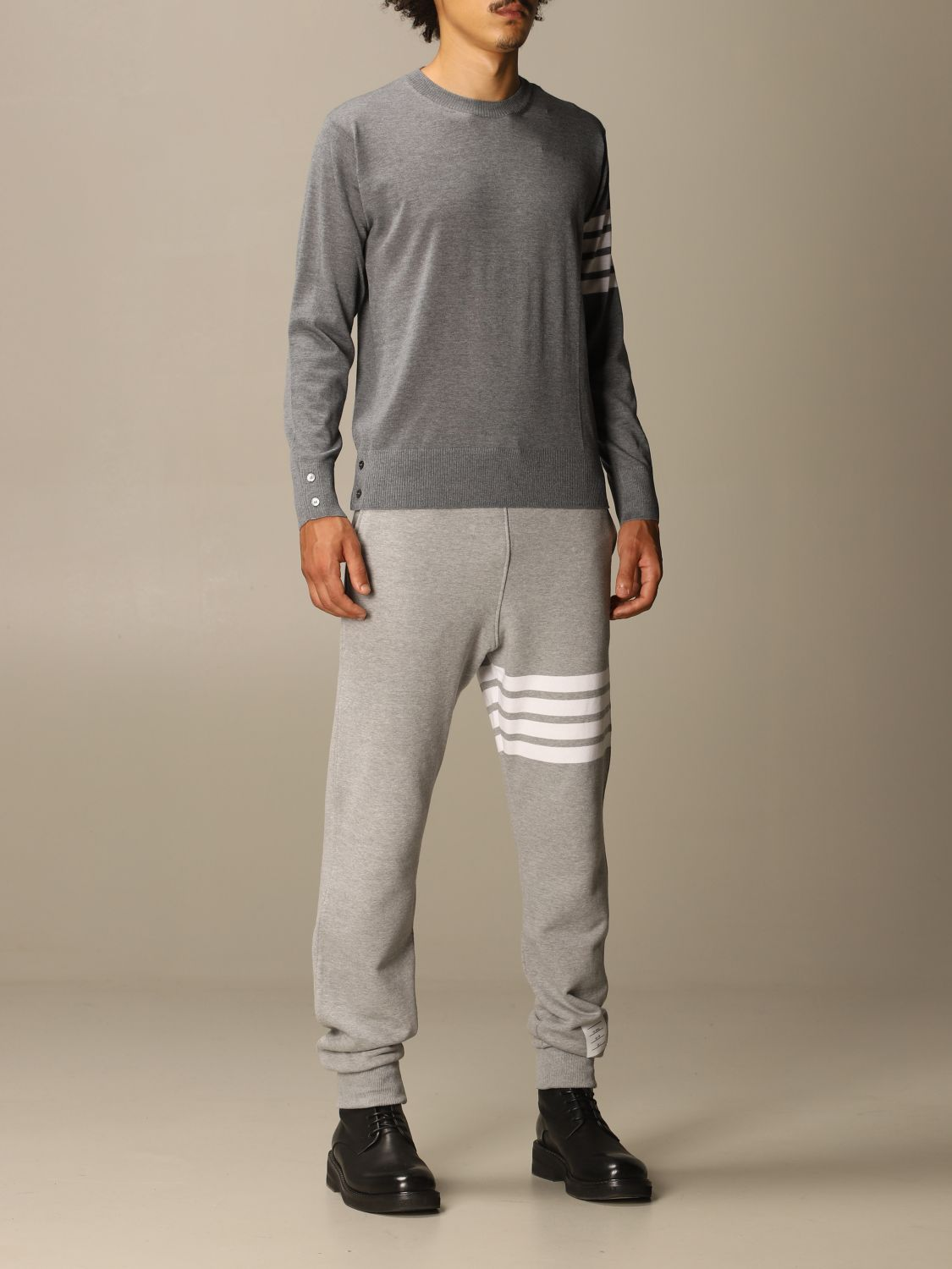 Sweater Thom Browne: Thom Browne pullover in merino wool with bands charcoal 2