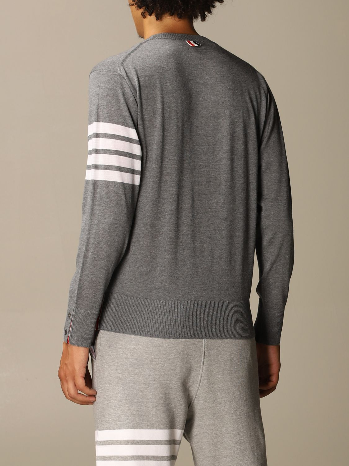 Sweater Thom Browne: Thom Browne pullover in merino wool with bands charcoal 3