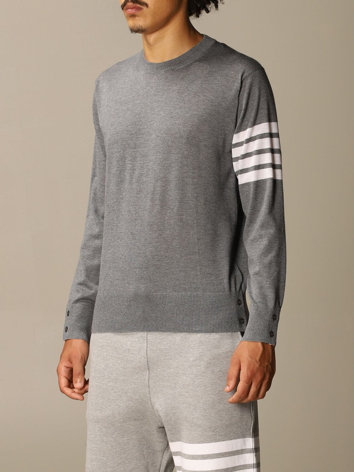 Sweater Thom Browne: Thom Browne pullover in merino wool with bands charcoal 4