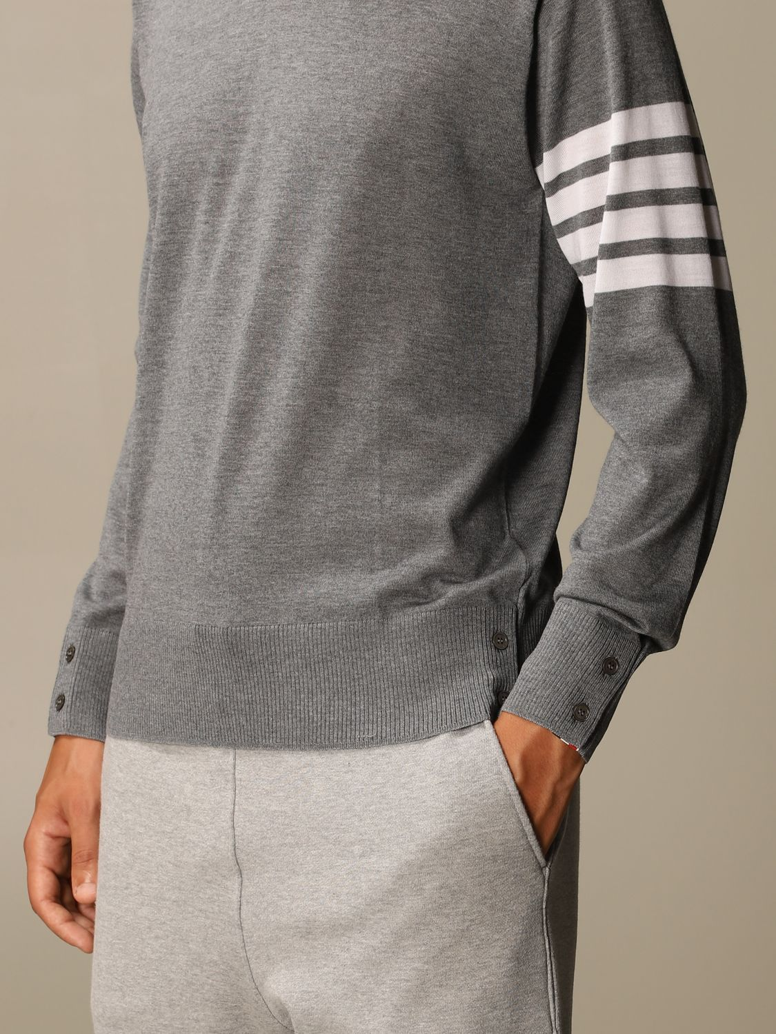 Sweater Thom Browne: Thom Browne pullover in merino wool with bands charcoal 5