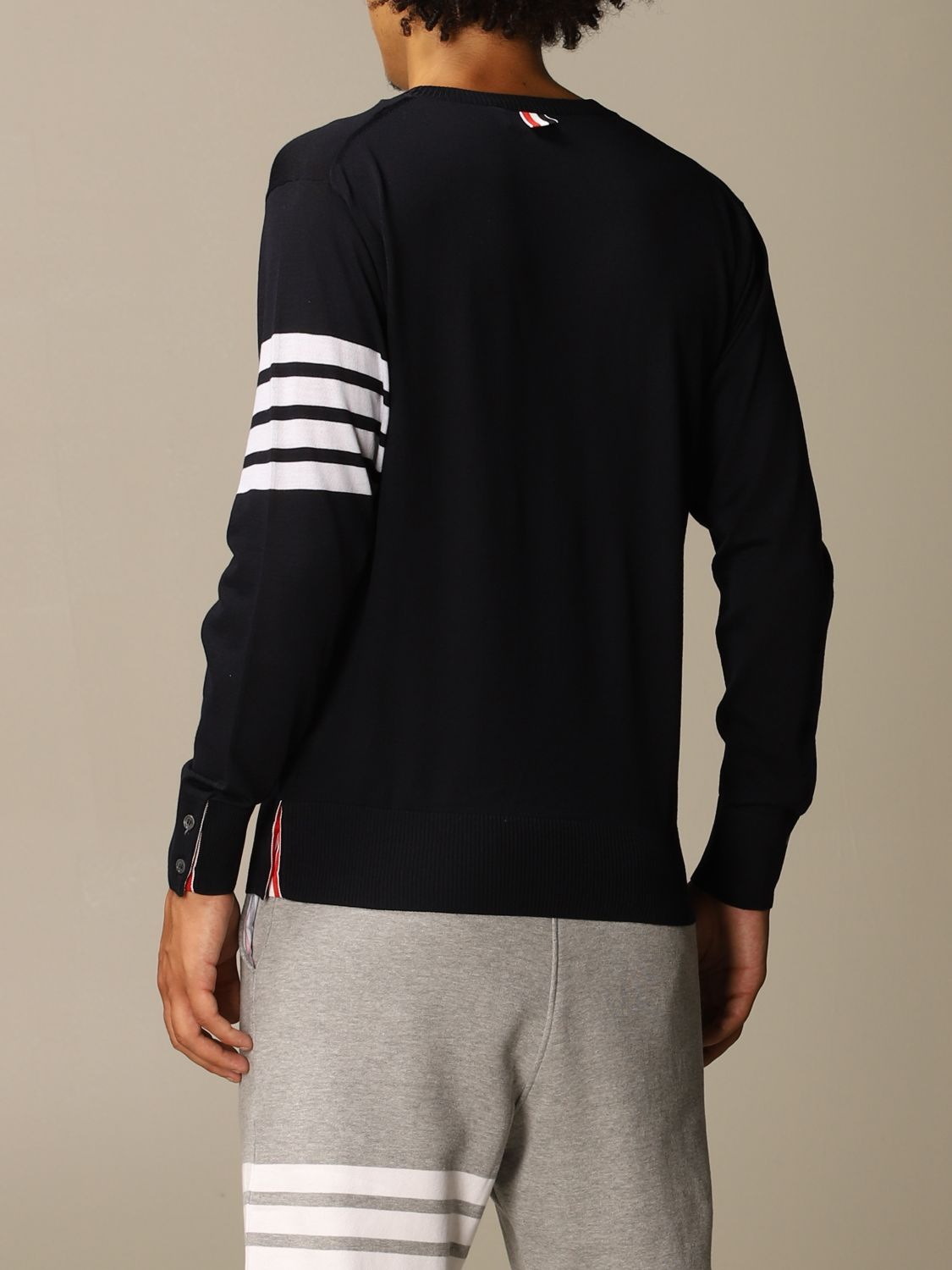 Sweater Thom Browne: Thom Browne pullover in merino wool with bands navy 3