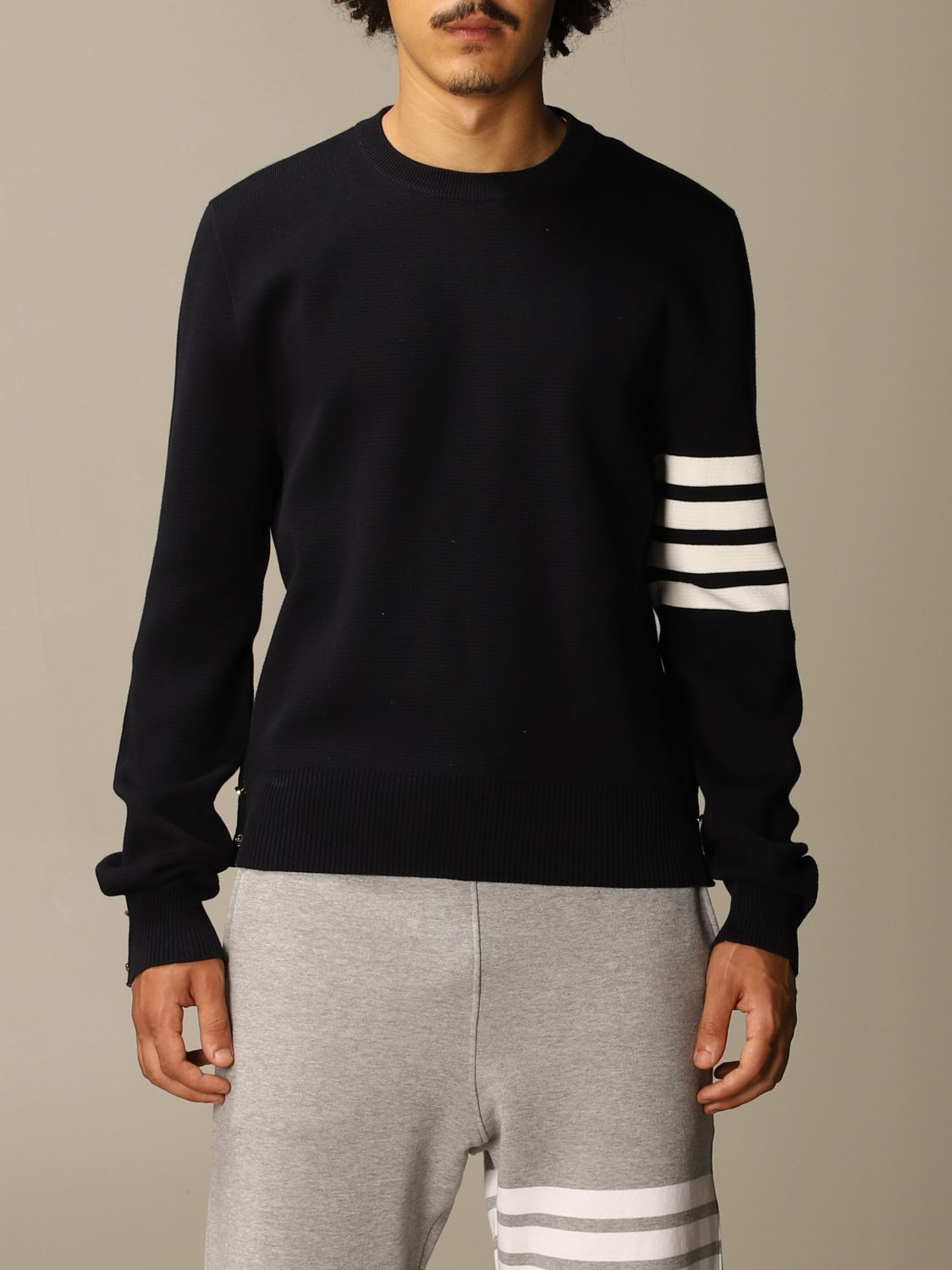 Sweater Thom Browne: Thom Browne pullover in merino wool with stripes navy 1
