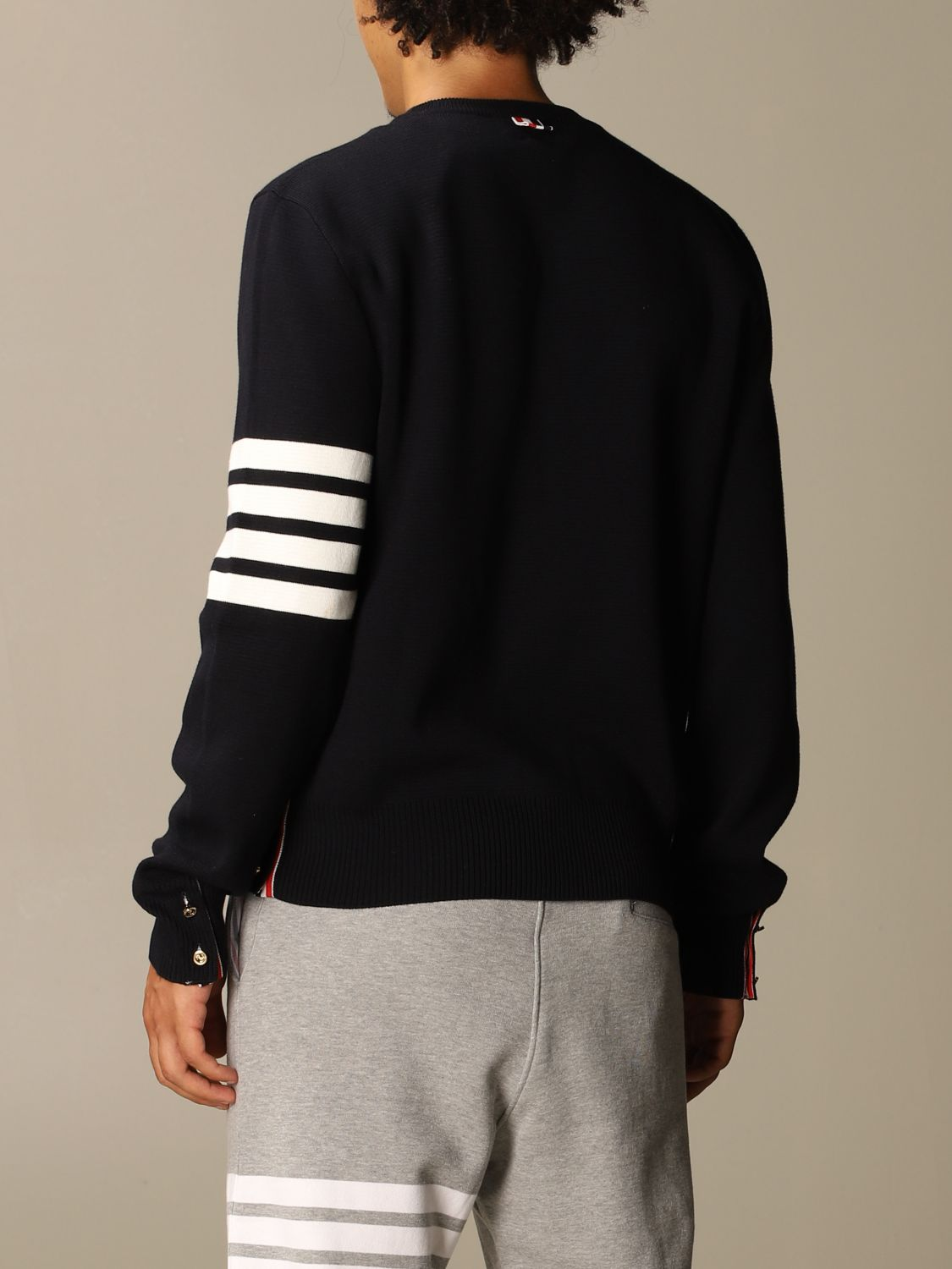 Sweater Thom Browne: Thom Browne pullover in merino wool with stripes navy 3