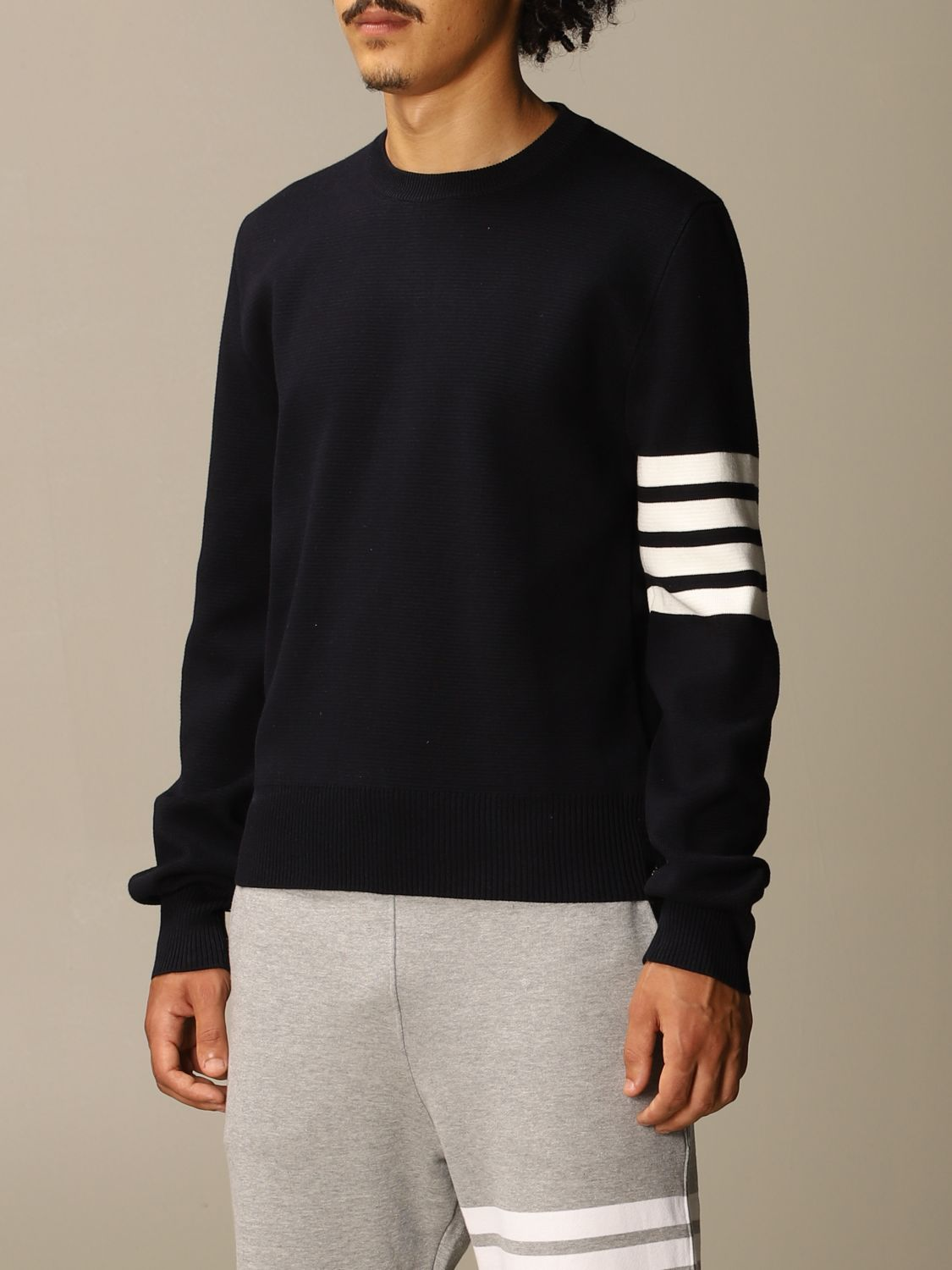 Sweater Thom Browne: Thom Browne pullover in merino wool with stripes navy 4