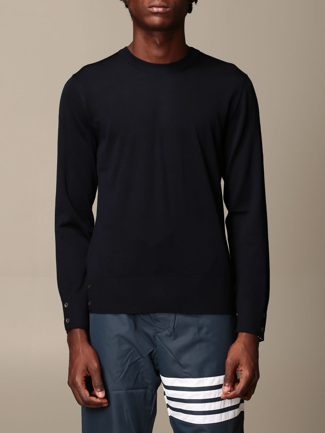 Sweater Thom Browne: Thom Browne pullover in merino wool with bands navy 1