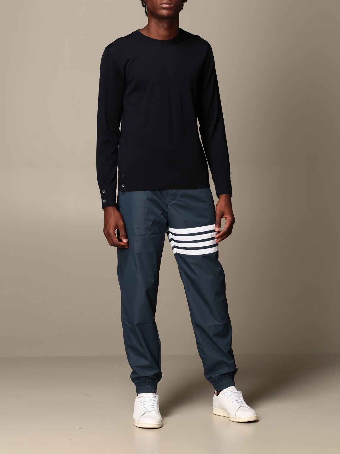 Sweater Thom Browne: Thom Browne pullover in merino wool with bands navy 2