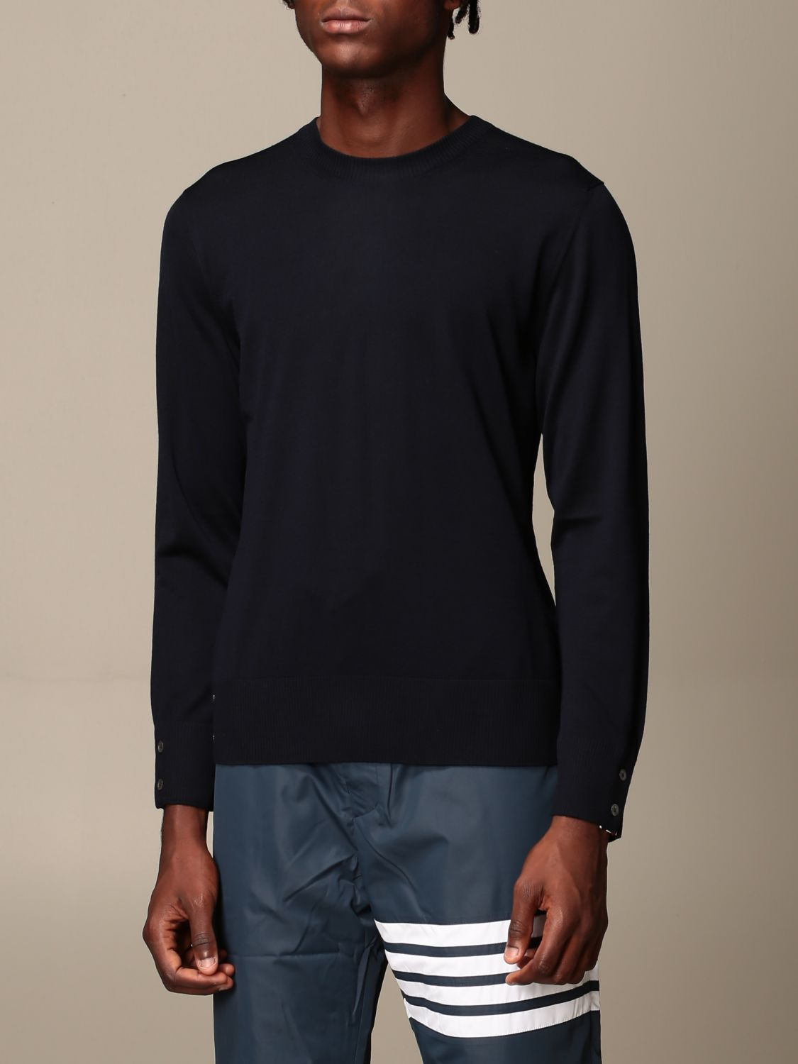 Sweater Thom Browne: Thom Browne pullover in merino wool with bands navy 4