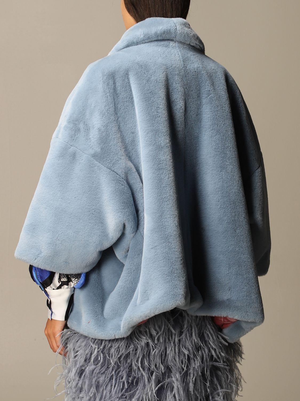 皮草 Stella Jean: 大衣 女士 Stella Jean 浅蓝色 3